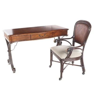Contemporary Hardwood and Scrolled Metal Writing Table Plus Hammary Armchair