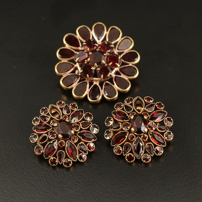 Czech Glass Brooch and Clip Earrings