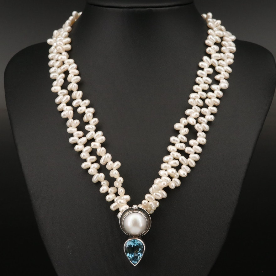 """Sterling Pearl and Topaz """"Echo of the Dreamer"""" Necklace"""