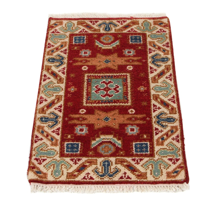 2'1 x 3'3 Hand-Knotted Indo-Caucasian Kazak Accent Rug, 2010s