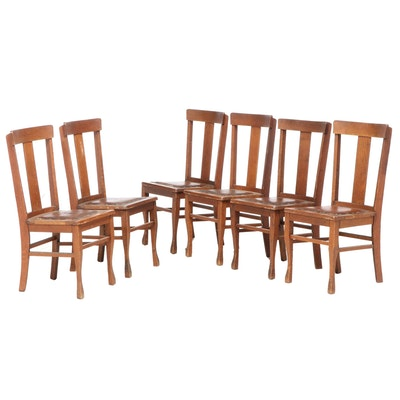 Six Arts and Crafts Oak Dining Side Chairs, Early 20th Century