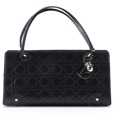 Christian Dior Black Cannage Quilted Leather Satchel