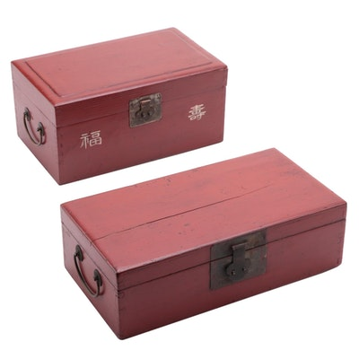 Chinese Red Painted Wood Boxes, Late 20th Century