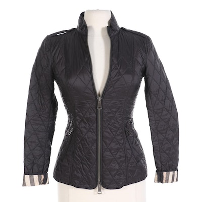 Burberry Brit Quilted Black Jacket With Nova Check Lining