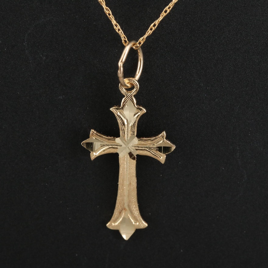 14K Cross Pendant Necklace