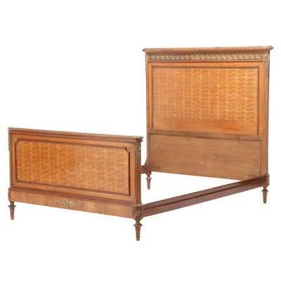French Marquetry and Gilt Metal-Mounted Full Size Bed Frame, circa 1920