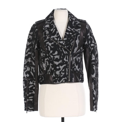 Diane von Furstenberg Leather and Wool Motorcycle Jacket