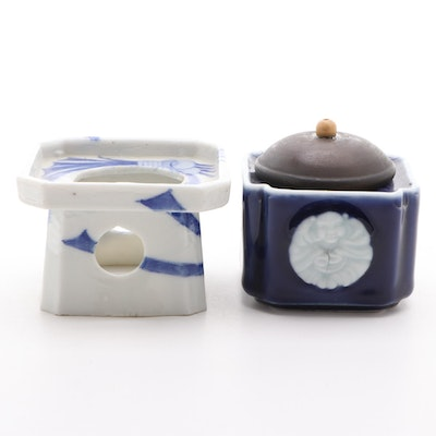 Asian Style Blue and White Porcelain Ink or Brush Pots