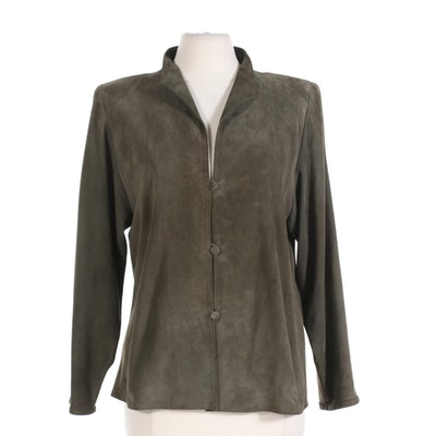 Sherry Michals Olive Green Suede Long Sleeve Shirt
