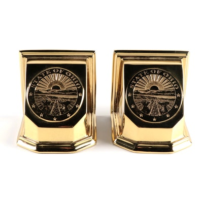 """Virginia Metalcrafters """"State of Ohio"""" Commemorative Brass Bookends, 1995"""