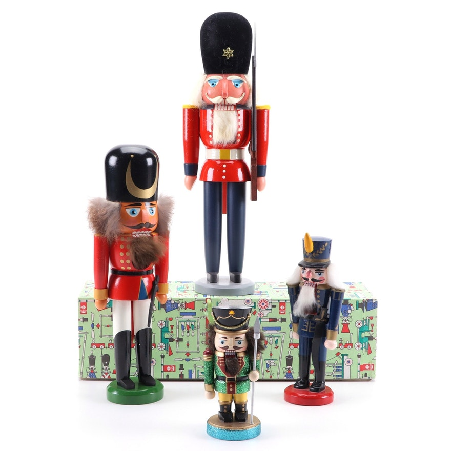 German Hand-Crafted Erzgebirge Wooden Soldier Nutcracker and Other Nutcrackers