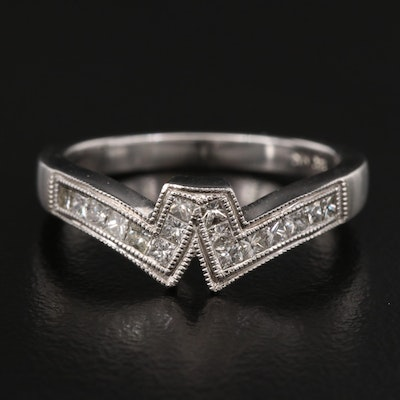 14K Diamond Contour Band