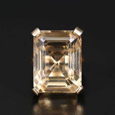 14K 34.30 CT Citrine Ring