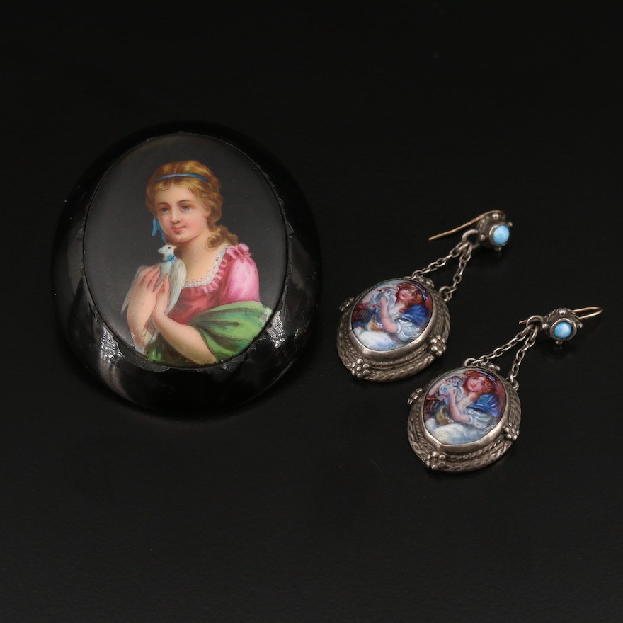 Early 1900s Sterling with Enamel Earrings and Hand Painted Victorian Brooch