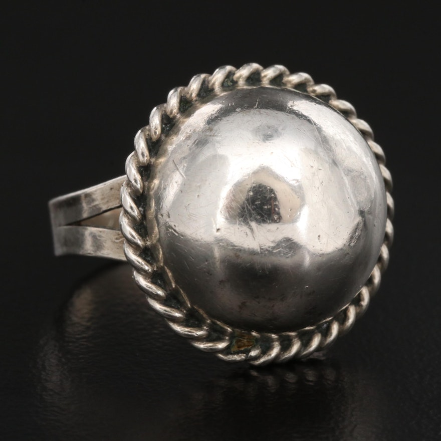 800 Silver Dome Ring