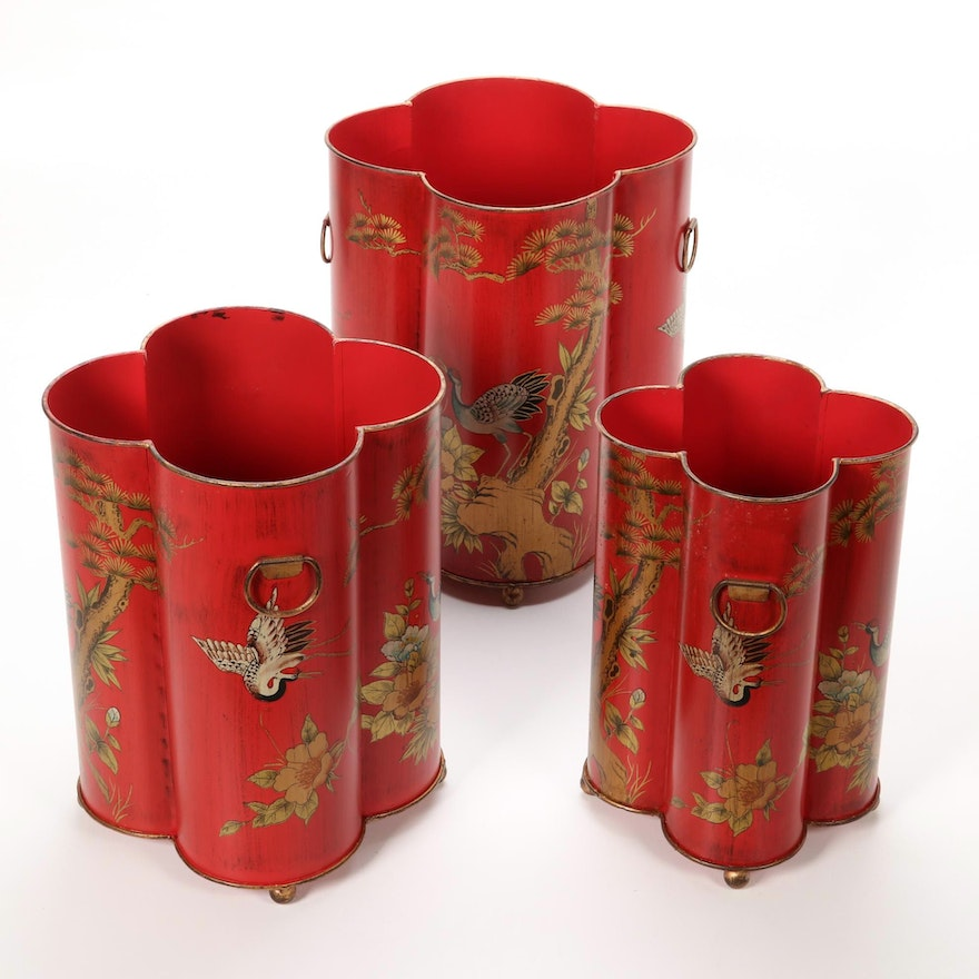 Nesting Umbrella Stand Set with Painted Storks