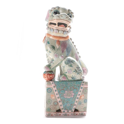 Chinese Enameled Ceramic Guardian Lion Figurine