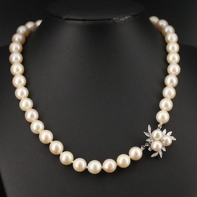 Single Strand Pearl Necklace with 14K Pearl and Diamond Clasp