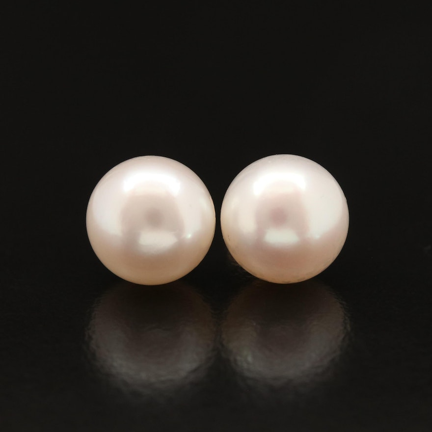 14K Button Pearl Stud Earrings