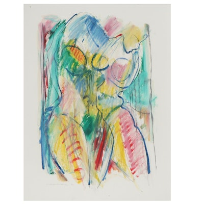 Jack Meanwell Abstract Pastel Drawing of Figure Study, 1984