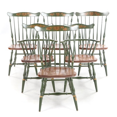 Six L. Hitchcock Gilt-Stenciled & Parcel-Painted Comb-Back Windsor Dining Chairs