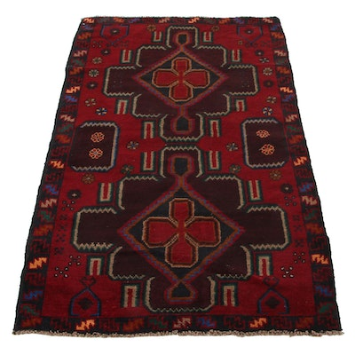 3'0 x 4'11 Hand-Knotted Afghan Baluch Rug, Late 20th-21st Century