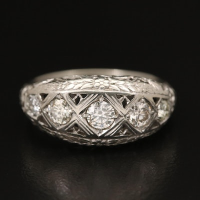 Vintage 18K Diamond Openwork Ring with 10K Shank