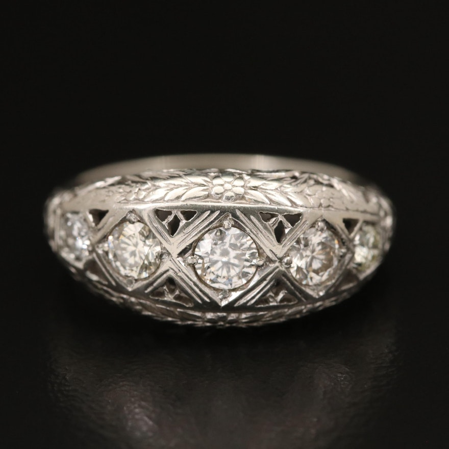 Vintage 18K Diamond Openwork Ring with 10K Shank
