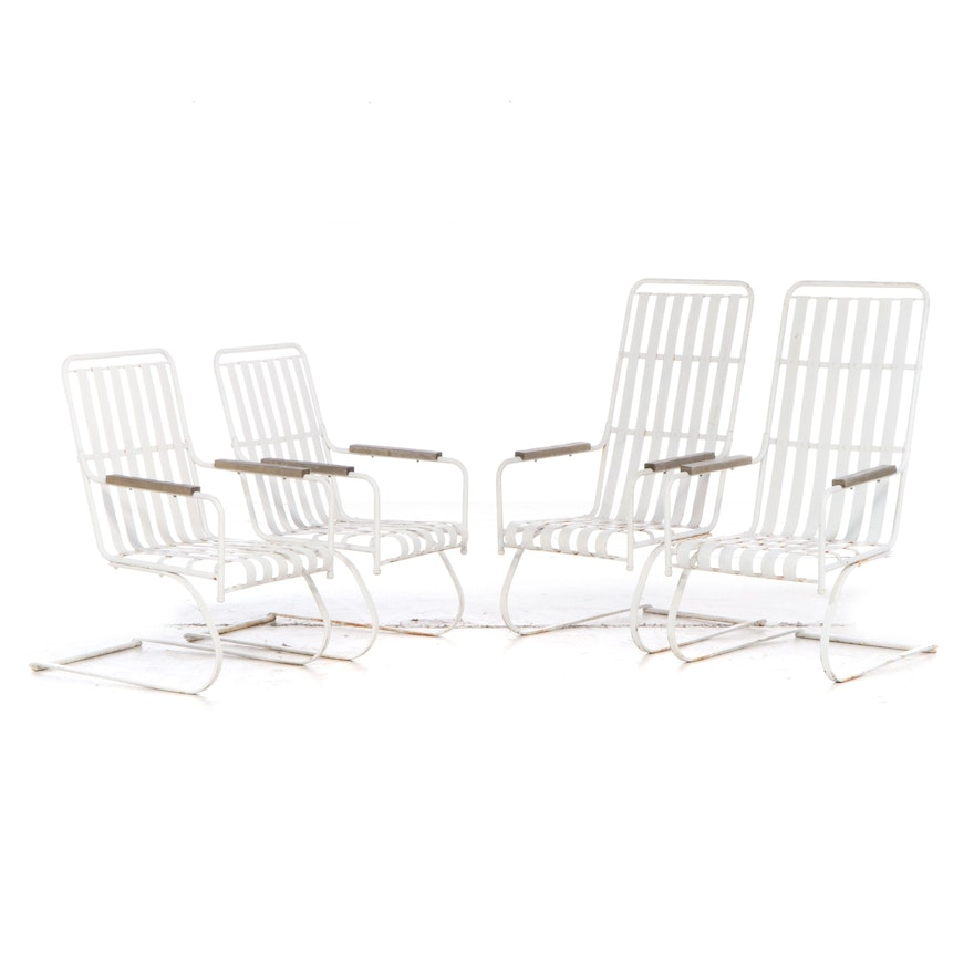 Two Pairs of Modernist White-Painted Metal Cantilevered Patio Rockers