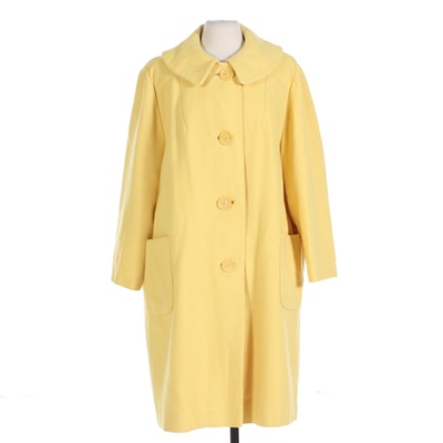 Canary Yellow Button Front Coat with Patch Pockets and Peter Pan Collar, Vintage