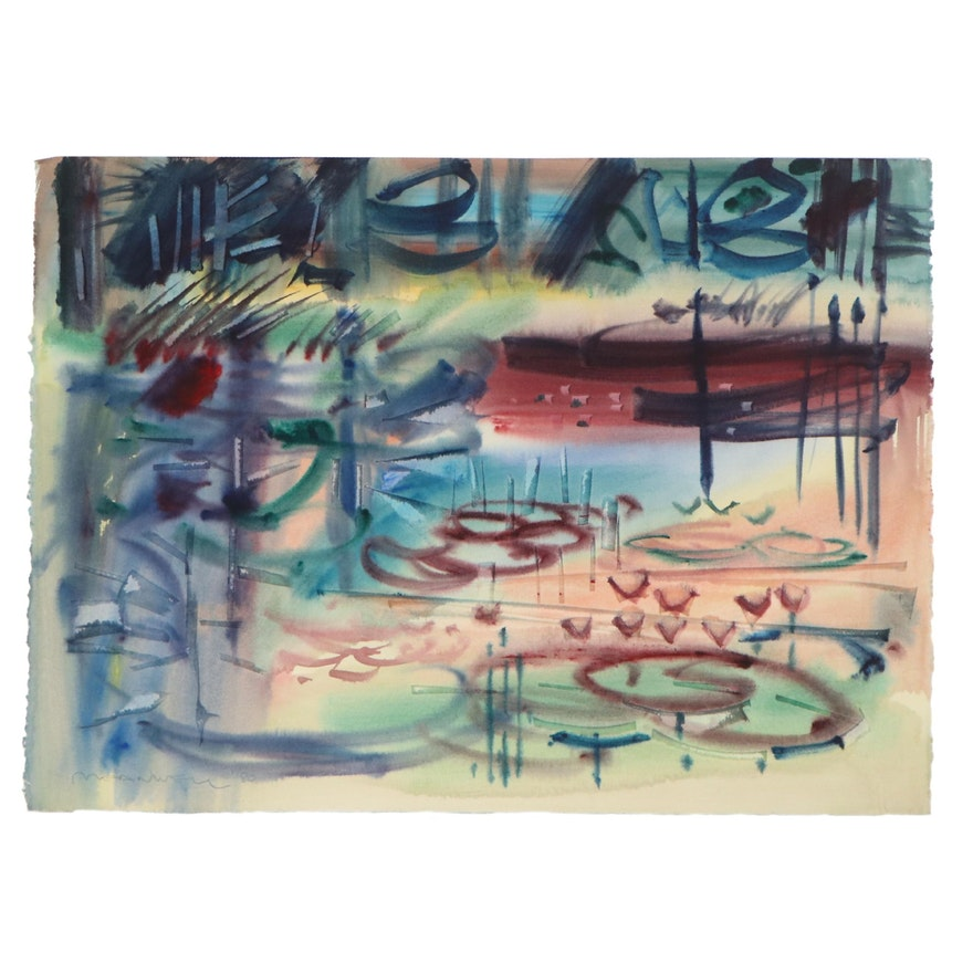 Jack Meanwell Abstract Watercolor Landscape Painting, 1980