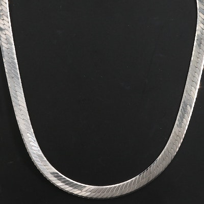 Sterling Silver Herringbone Link Necklace