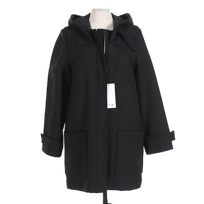 Lacoste Black Wool Blend Zipper Front Hooded Coat