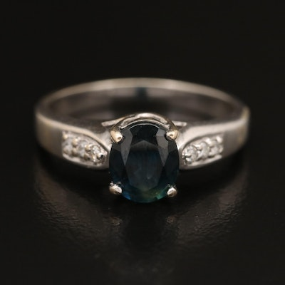 18K 1.40 CT Sapphire and Diamond Ring