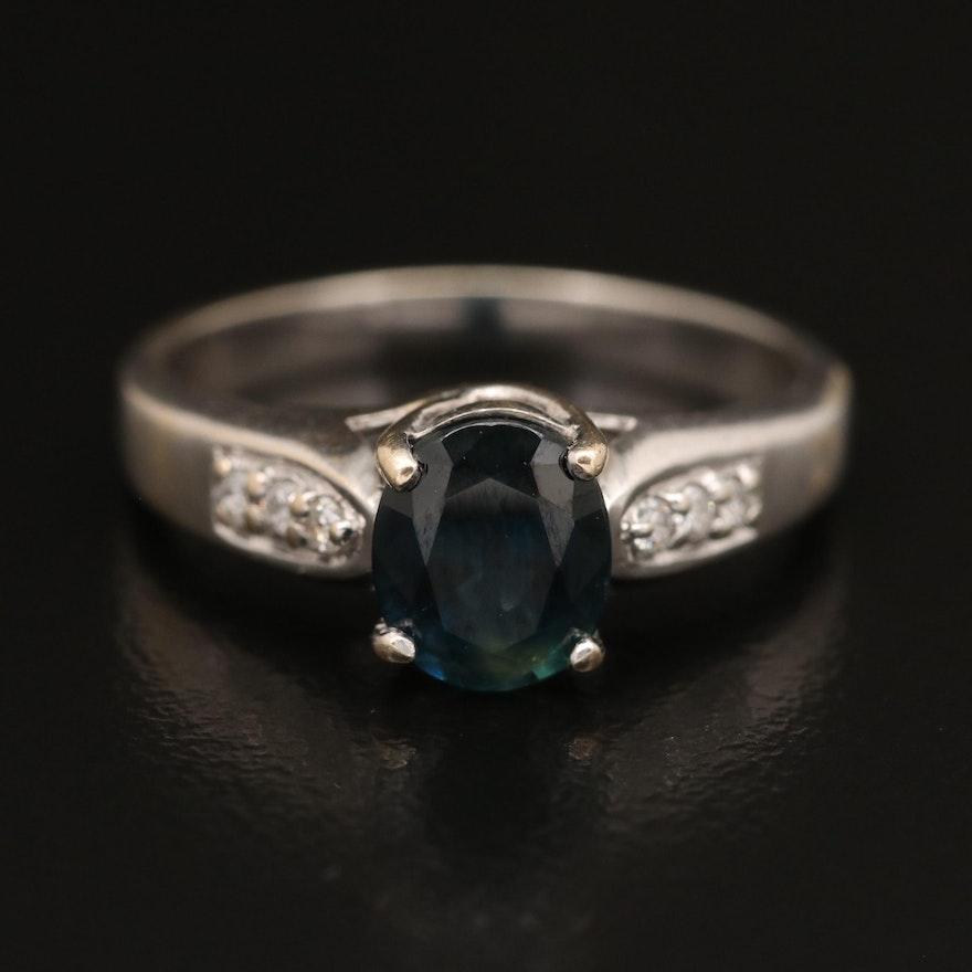 18K 1.40 CT Sapphire and Diamond Ring