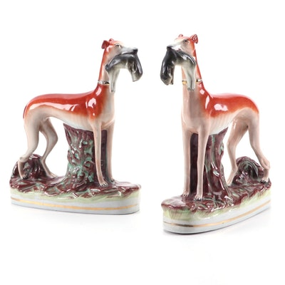 Staffordshire Hunting Greyhound with Hare Figurines, Late 19th Century