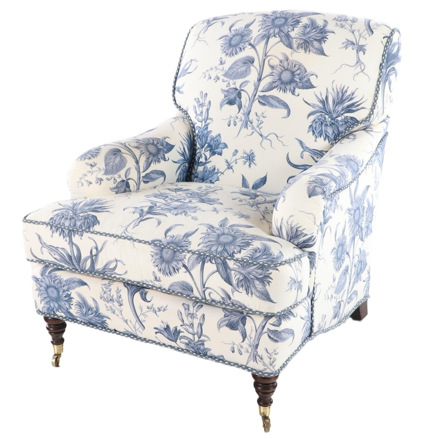 Custom Upholstered Cowtan and Tout Armchair with Braided Welt Banding