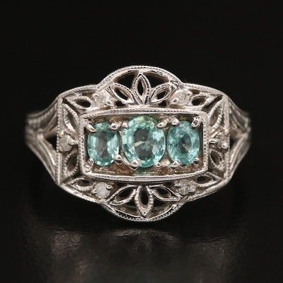 14K Tourmaline and Diamond Openwork Ring