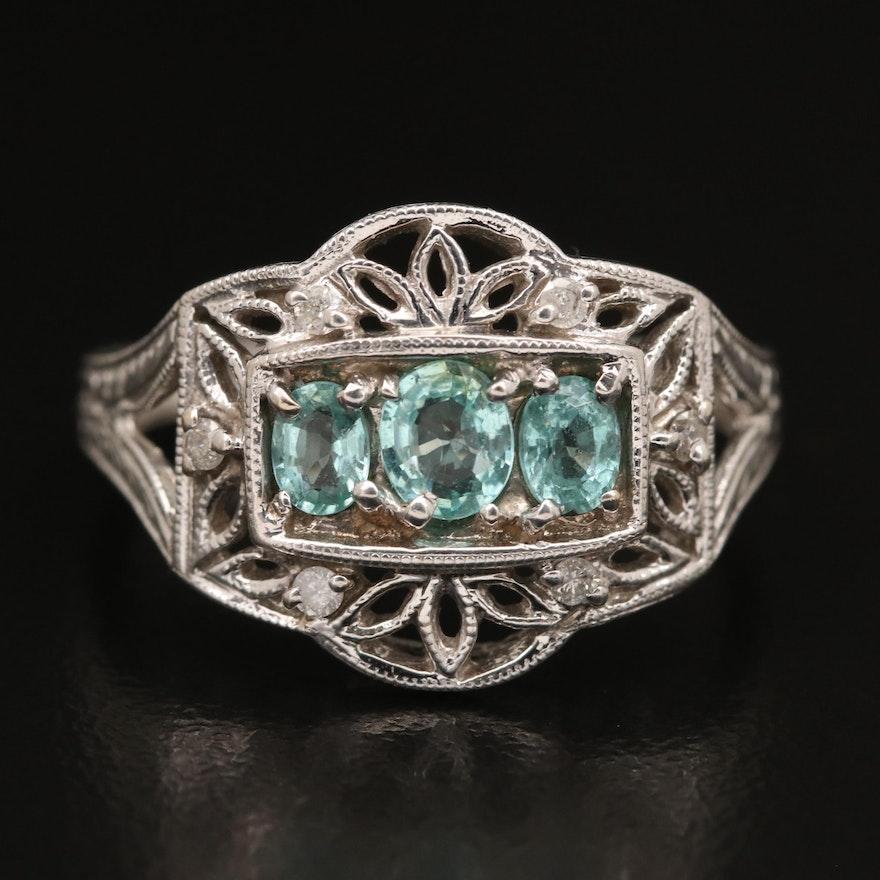 14K Tourmaline and Diamond Openwork Ring