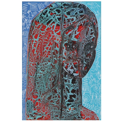 """Abiola Idowu Mixed Media Painting """"Passion of Love,"""" 2020"""