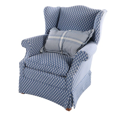 Chippendale Style Custom-Upholstered Wingback Armchair