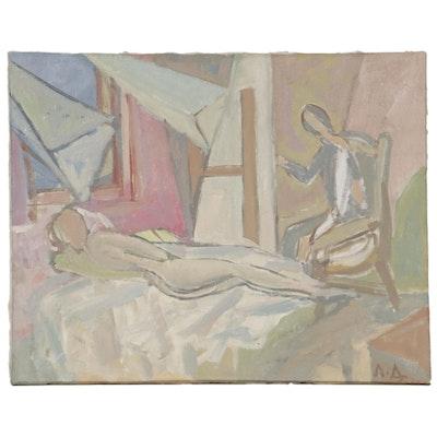 L. F. Diyakonichyn Oil Painting of Interior Study, 1989