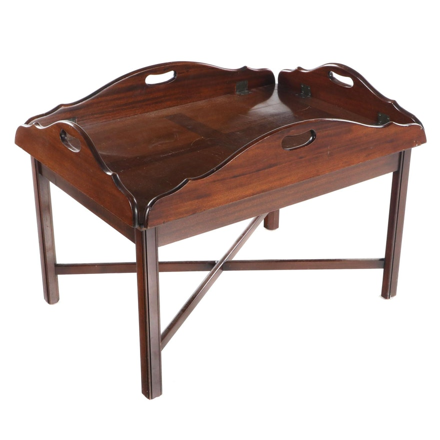 Chippendale Style Mahogany Butler's Tray Table, Late 20th Century