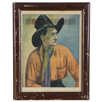 Offset Lithograph of Man in a Cowboy Hat, Late 20th Century