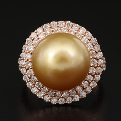 14K Rose Gold Pearl and 1.10 CTW Diamond Ring