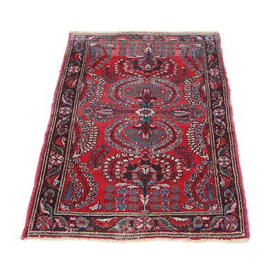 2'8 x 4'2 Hand-Knotted Persian Darjazin Accent Rug, 1920s