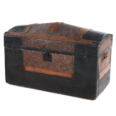 Victorian Slatted Wood and Embossed Metal Dome Top Trunk, Late 19th Century