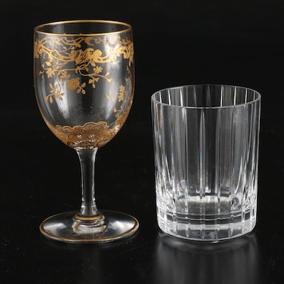 "Baccarat ""Harmonle"" Whiskey Glass and ""Louis XV"" Patterned Wine Glass"