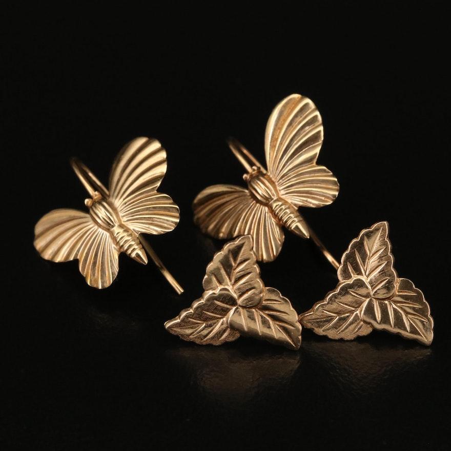 14K Butterfly and Foliate Earrings