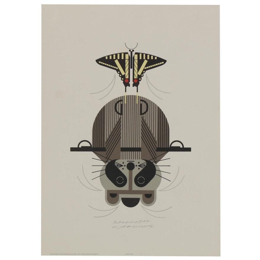 "Charley Harper Lithograph ""Raccrobat,"" 1978"